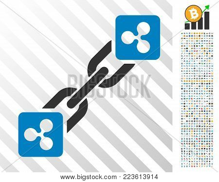 Ripple Blockchain pictograph with 700 bonus bitcoin mining and blockchain images. Vector illustration style is flat iconic symbols designed for crypto-currency software.