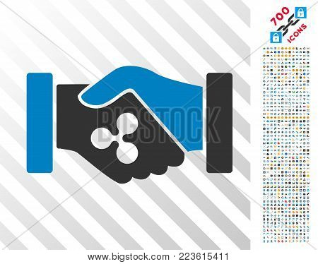 Ripple Contract Hands pictograph with 7 hundred bonus bitcoin mining and blockchain graphic icons. Vector illustration style is flat iconic symbols designed for cryptocurrency websites.