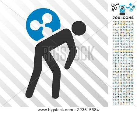 Ripple Courier pictograph with 700 bonus bitcoin mining and blockchain pictographs. Vector illustration style is flat iconic symbols designed for bitcoin software.