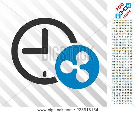Ripple Credit Time icon with 700 bonus bitcoin mining and blockchain clip art. Vector illustration style is flat iconic symbols designed for blockchain software.
