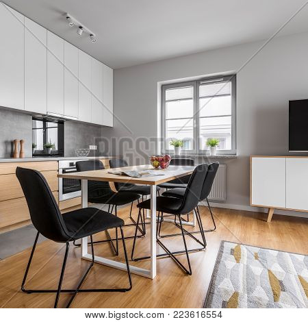 Modern Designed Kitchen With Table