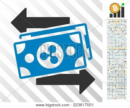 Ripple Exchange Bills icon with 700 bonus bitcoin mining and blockchain pictures. Vector illustration style is flat iconic symbols designed for blockchain apps.