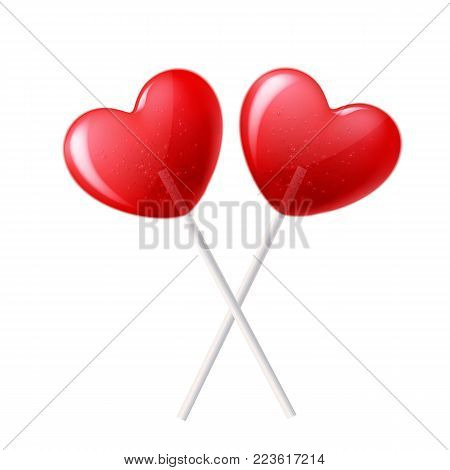 Vector heart lollipop crossed candy 3d closeup, happy valentine day invitation, greeting card, banner poster template. Isolated illustration sweet dessert stick. Romantic love sugar caramel symbol