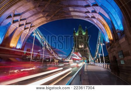 view to the skyline of London with tower bridge and business district at the thames river in london. ideal for websites and magazines layouts