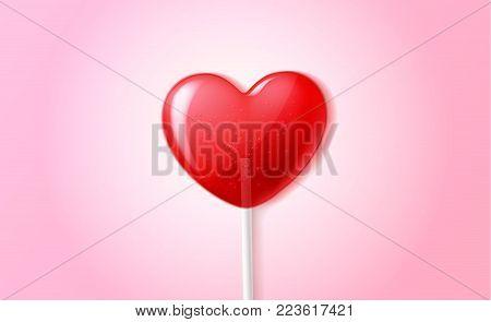 Vector heart lollipop candy 3d, happy valentine day invitation, greeting card, banner poster template pink background. illustration sweet dessert stick. Romantic love sugar caramel celebration symbol