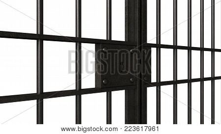 3d render of metal jail bars isolated over white background