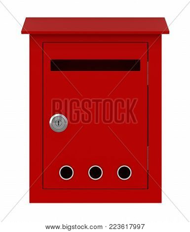 3d render of post box isolated over white background