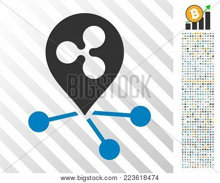 Ripple Location Connections icon with 700 bonus bitcoin mining and blockchain pictograms. Vector illustration style is flat iconic symbols designed for blockchain software.