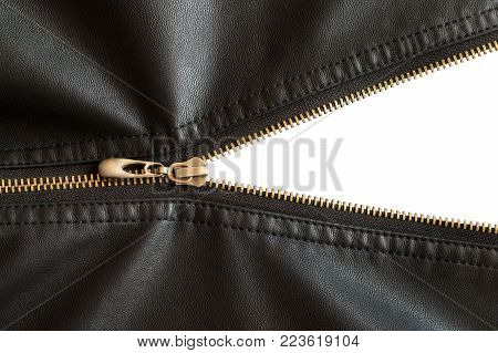 not fully buttoned metal zipper on a leather black jacket on isolated background