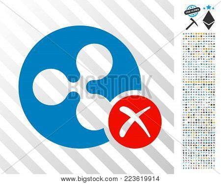 Ripple Reject pictograph with 700 bonus bitcoin mining and blockchain pictographs. Vector illustration style is flat iconic symbols designed for crypto currency websites.