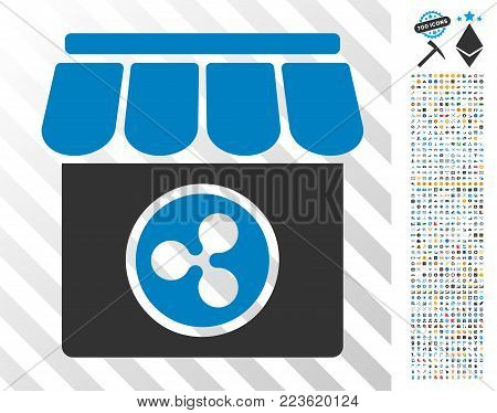 Ripple Shop pictograph with 700 bonus bitcoin mining and blockchain images. Vector illustration style is flat iconic symbols designed for blockchain websites.