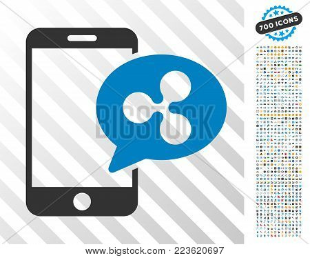 Smartphone Ripple Message pictograph with 700 bonus bitcoin mining and blockchain graphic icons. Vector illustration style is flat iconic symbols designed for crypto-currency apps.