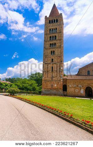 Pomposa Abbey, benedictine monastery medieval church and campanile tower. Codigoro Ferrara, Emilia Romagna, Italy Europe.