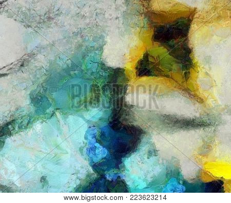 Muted Colors Abstract Painting. 3D rendering
