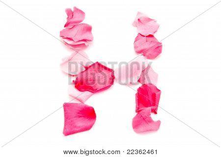 Pink Petal Letter - Capital H