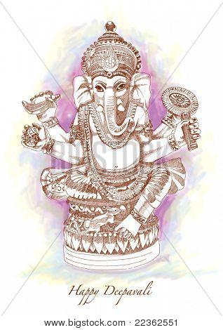 Vector Hand Drawn Hindu God Ganesh