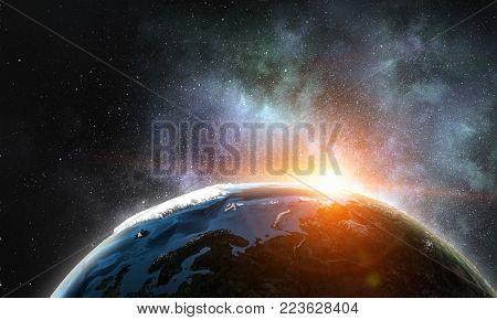 Lightning striking Earth planet