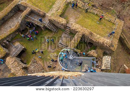 Aerial view of Orlik nad Humpolcem castle ruin with many people, Vysocina, Czech Republic.