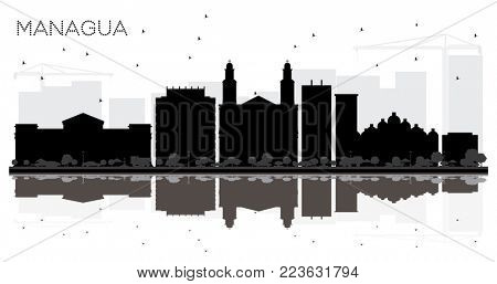 Managua Nicaragua City Skyline Black and White Silhouette with Reflections. Simple Flat Concept for Tourism Presentation, Banner, Placard or Web Site. Managua Cityscape with Landmarks.