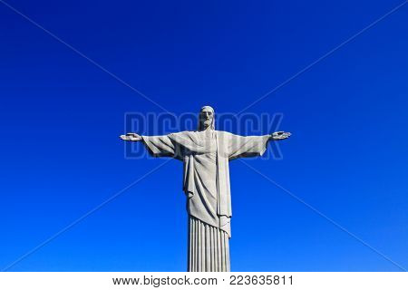 RIO DE JANEIRO BRAZIL - CIRCA DE DECEMBER 2017: Christ the Redeemer, statue on top of Corcovado.