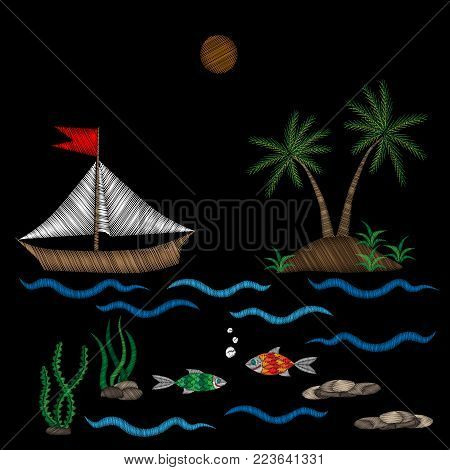 Embroidery palm tree and boat on wave with fish stitches imitation isolated on the black background. Embroidery for logo, label, emblem, sign, poster, t-shirt print. Vector embroidery illustration.