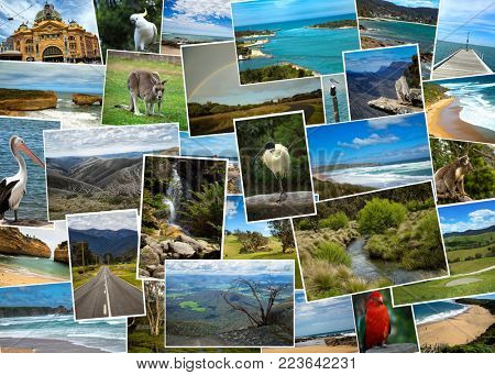 Collage from fabulous location of Australia on white background