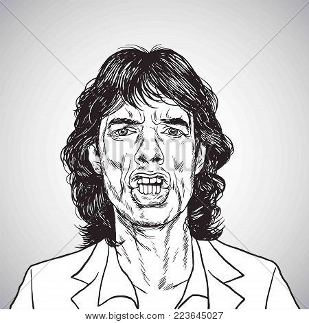 Mick Jagger Portrait Hand Drawn Drawing. Vector Illustration Caricature. January 26, 2018