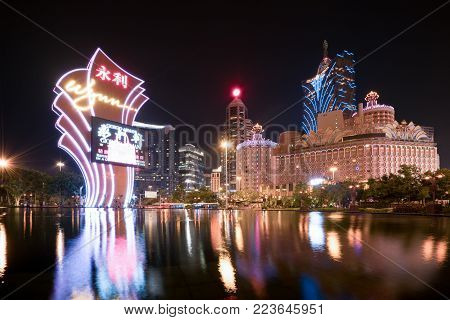 Macau, China - October 14, 2017: Night view of Macau (Macao). The Grand Lisboa is the tallest building in Macau (Macao) and the most distinctive part of its skyline