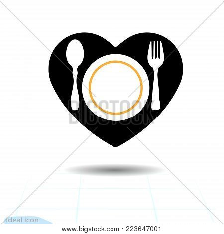 Black icon of Cutlery in the shape of a heart. Fork, plate and spoon silhouettes. Vector illustration. Soliciting new clients for Valentines day. Food, drink.