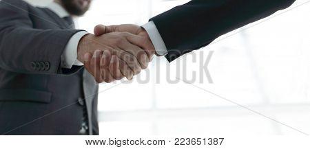 Businessmen making handshake - business etiquette, congratulations