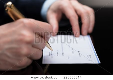 Close-up Of A Businessperson Signing Cheque With Pen