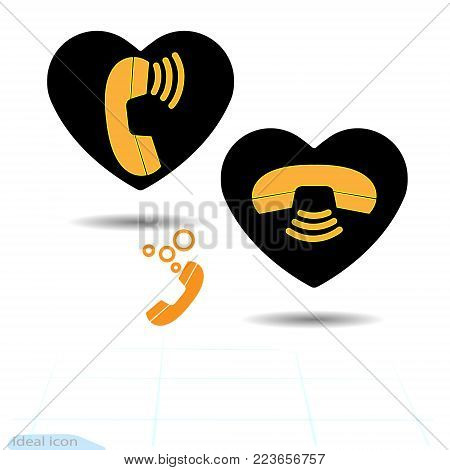 Black heart is an telephone communication. Vector. Valentines day and phone icon. Contact, call center, support service sign Isolated on heart. For graphic design, Website, social media, mobile app
