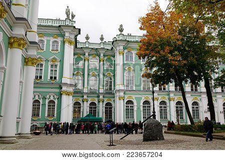 St Petersburg, Russia - Oct 8, 2016. People Visit The State Hermitage Museum In Saint Petersburg, Ru