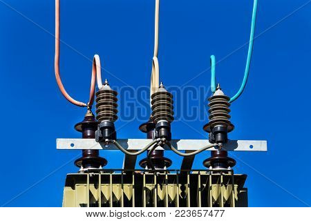 outdoors high voltage transformer in Africa blue sky