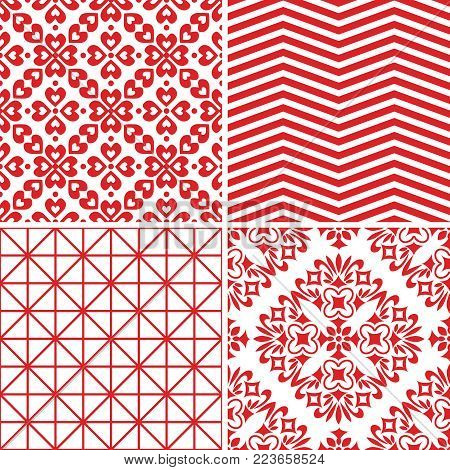 Seamless abstact red patterns vector decorative set