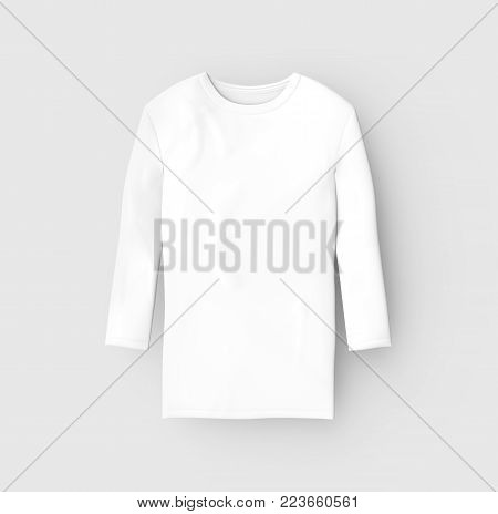 Three Quarter Sleeves Shirt, Blank White Unisex Cloth Isolated On Light Gray Background, 3d Render