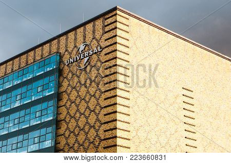 Berlin, October 03, 2017: A sign on the building of the Universal Music office on the territory of Berlin's eastern port, along the Strahlauer Allee street in the Berlin district of Friedrichshain.
