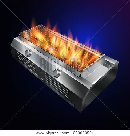 grill stove BBQ...Fire up the grill from hot gas...vector realistic file.