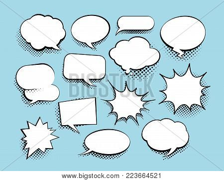 Set of comic speech bubbles with halftone. Vector