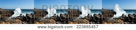 Image sequence of a wave crashing onto the rugged coastline near Cascais, Portugal