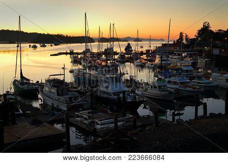 Ganges Harbor, Salt Spring Island Twilight Dawn. Ganges Harbor At Dawn On Salt Spring Island. Gulf I