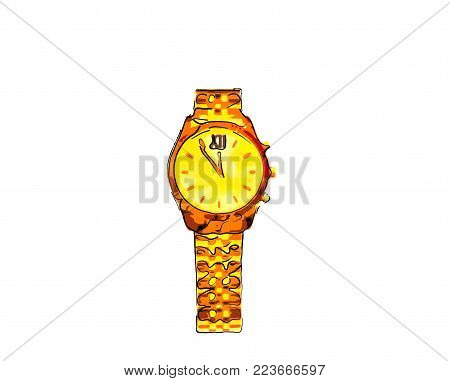 Cheerful, Gold Wristwatch With A Smile, Arrows And A Bracelet