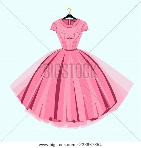 Party Prom dress with fancy decor.Fashion illustration poster