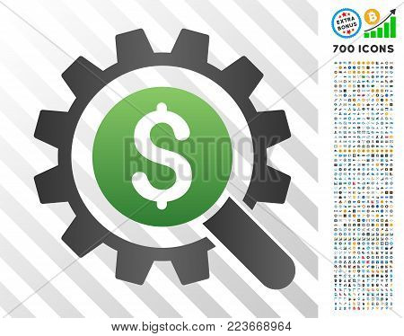 Search Money Options gradient pictograph with 7 hundred bonus bitcoin mining and blockchain graphic icons. Vector illustration style is flat iconic symbols designed for blockchain software.