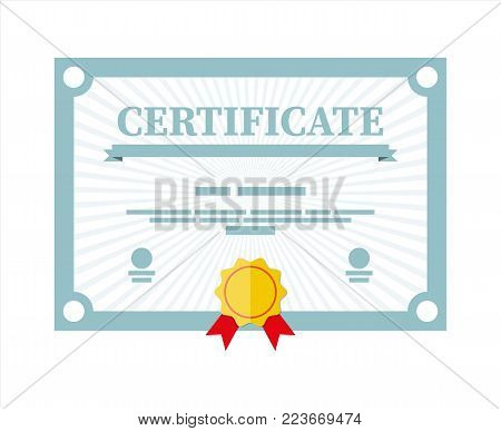 Certificate template. Diploma or accreditation with yellow stamp and red ribbons. Voucher or invitation. Graduation concept. Vector illustration in flat style