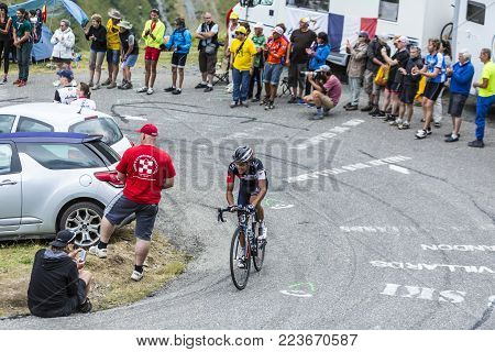 Col du Glandon, France - July 24, 2015: The Colombian cyclist Jarlinson Pantano of IAM Cycling Team,climbing the road to Col du Glandon in Alps, during the stage 19 of Le Tour de France 2015.