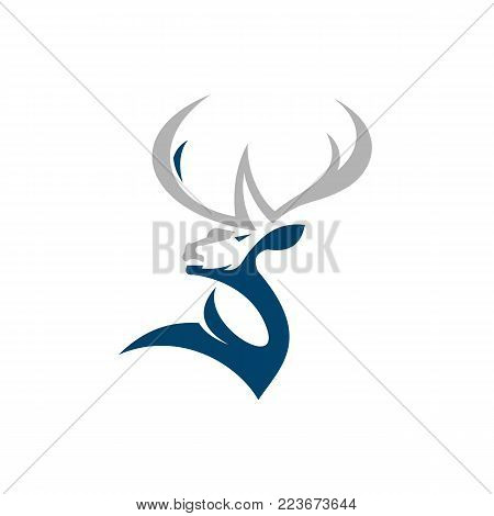 Deer Logo Template. Vector Illustration Design Simple