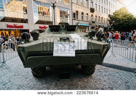 Prague,  Czech Republic - August 18, 2017: Old Soviet tank in exhibition in Wenceslas Square about Prague Spring and Soviet Union invasion