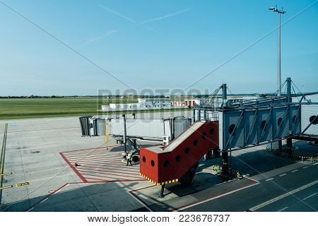 Prague, Czech Republic - August 22, 2017: Jetway or finger in runway of Vaclav Havel Prague Airport