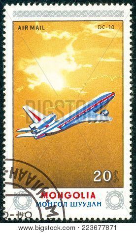Ukraine - circa 2018: A postage stamp printed in Mongolia show aircraft Dc-10. Series: Airplanes. Circa 1984